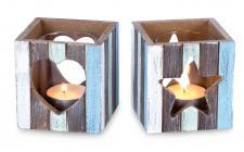 2er Set Teelichthalter Windlicht aus Holz Herz Stern 8x7, 5cm mit Glas