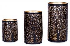 3er Set Windlichter Metall Schwarz Gold Kerzenhalter Deko Laterne