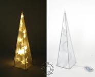 LED Pyramide Lampe warm weiß Holografie Battteriebetrieb Tischleuchte