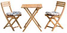 5tlg. Balkonmöbel Set Tisch Stühle Stuhlkissen Akazienholz Garten