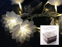 LED-Lichterkette mit 10 Weihnachtsblumen Blume 120cm weiß Leuchtkette