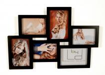 Bilderrahmen schwarz 6 Fotos 3D Optik - Fotogalerie Fotocollage