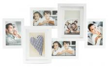 Fotorahmen weiß 6 Fotos Bilderrahmen Fotogalerie Collage Passepartout