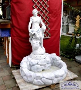 SRS107010 Garten Wandbrunnen mit Wasser Steinbecken und Figur Wasserträgerin mit Krug 128cm 352kg