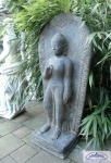 Tempelfigur Buddha Figur stehend Gartenfigur aus Beton mit Schrein 130cm