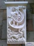 Loreley Stein als Fassadenstuck Schlußstein mit Meerjungfrau Nixe mit Schiff als Keilstein Zierelement 30x17cm