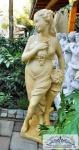 BD-0111 Gartenfigur Weingöttin Libera Frau mit Weintrauben ockerfarben 140cm 126kg