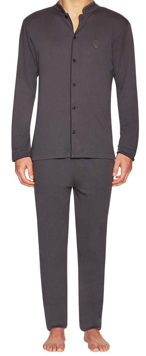 Emporio Armani Herren Pyjama / Schlafanzug lang asphalt grey, Gr. L