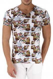 Emporio Armani V-Neck T-Shirt, Seemannsprint weiß 110810 6P502