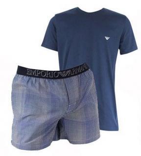 Emporio Armani Herren Loungewear / Schlafanzug kurz, navy kariert Gr. S