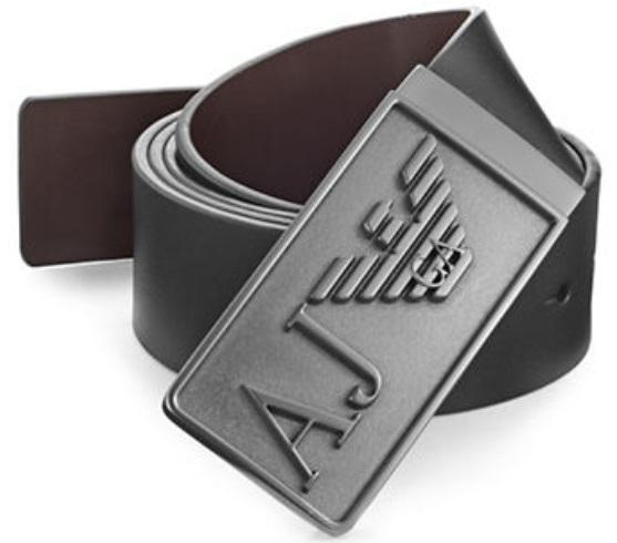 Armani Jeans Wendegürtel kürzbar, Logo-Schließe 06121 M7