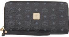 MCM Portemonnaie groß mit Zip, Color Visetos schwarz-silber.