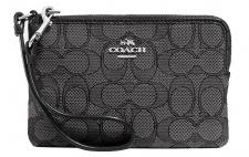 Coach Mini Pouch / Corner Zip, Signature black smoke/black