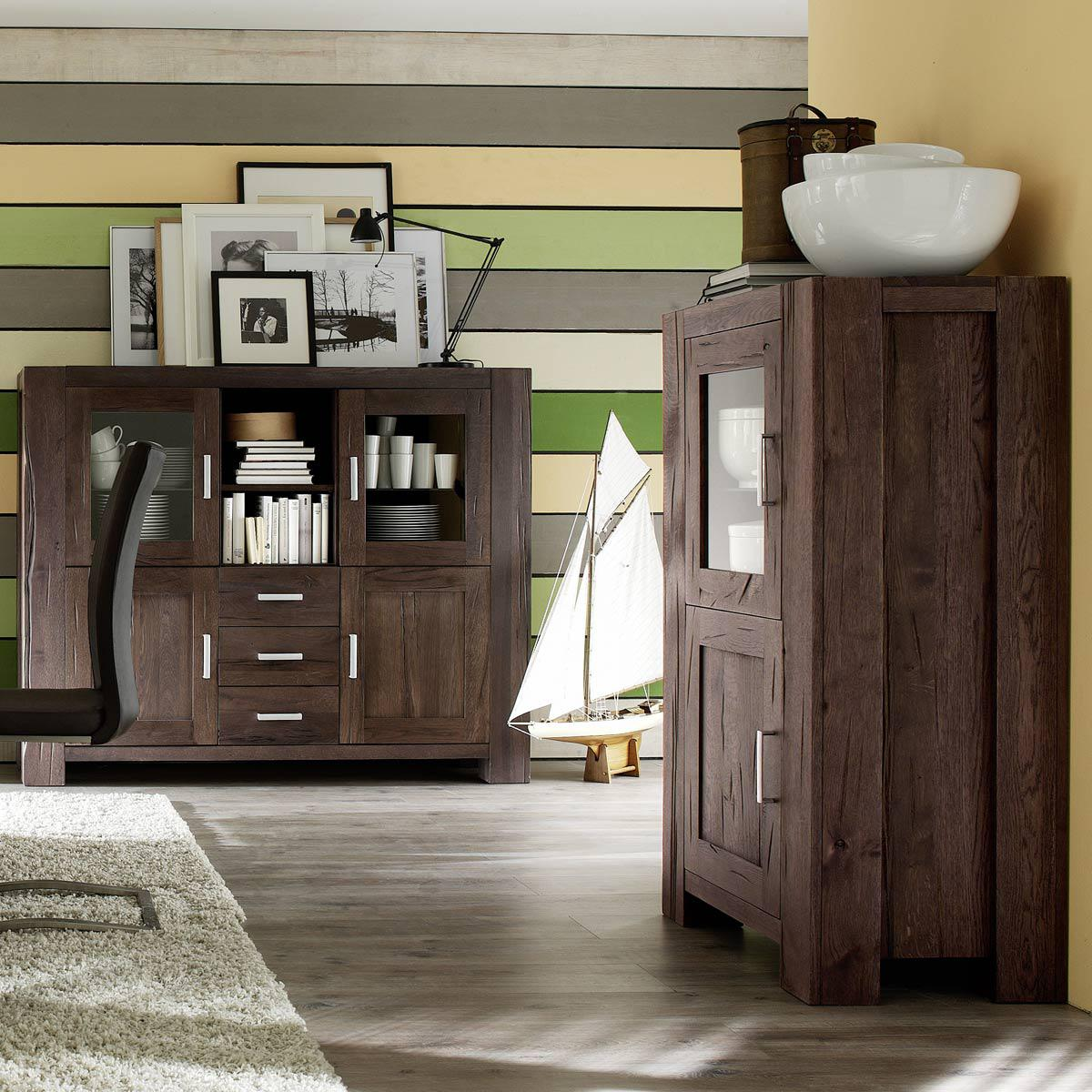 vitrine braxton in eiche massiv verwittert antik 132 cm. Black Bedroom Furniture Sets. Home Design Ideas