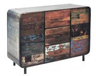 Sideboard Vadso aus recyceltem Massivholz und Metall