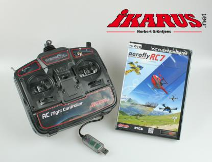 Modellflugsimulator aeroflyRC7 ULTIMATE im Set mit USB-Commander 2