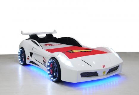 Autobett Kinderbett - Formel GT - Weiss inkl.Beleuchtung