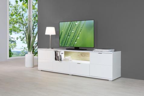 TV Board Lowboard - Shine - Hochglanz Weiss inkl. Beleuchtung - 180cm