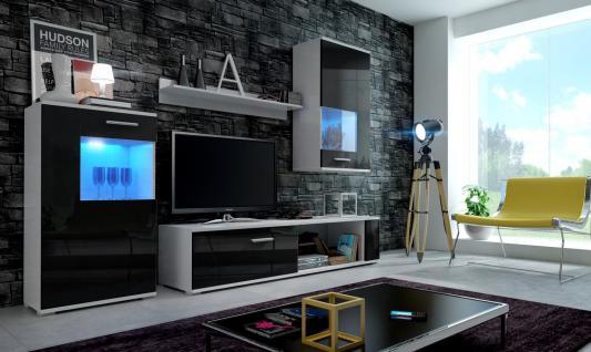 Wohnwand Schrankwand 4 tlg. -FIX-Schwarz Hochglanz mit LED-Beleuchtung
