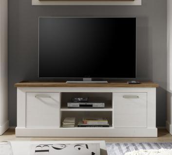 Lowboard TV-Schrank -NATURELL-160x60 cm im Pinie Weiss/Nussbaum Sattin