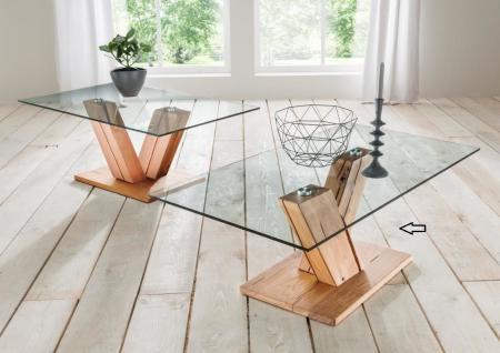 Couchtische mit ESG Glas -Gero 2 - Wildeiche Massiv geölt 110 x 70 cm