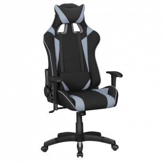 Drehstuhl Bürostuhl Chefsessel GAMING 1- Stoff - Schwarz / Grau