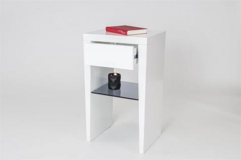 Nako Beistelltisch Nachttisch MILKA Weiss matt / Grauglas