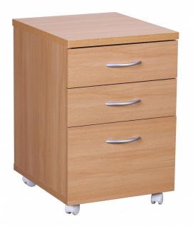 Rollcontainer Bürocontainer Buche 40x60 cm mit 3 Schubladen und Rollen