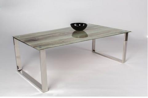 Couchtisch Tisch - VALERI 1 - 100x50 cm ESG Glas - Sanremo Eiche Druck