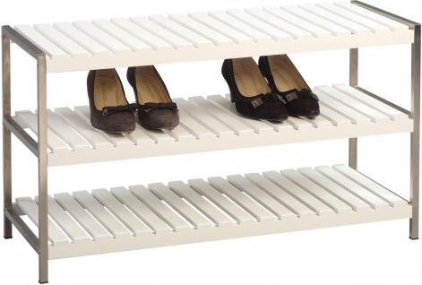 Schuhregal Schuhbank Regal - Niko - Weiss matt / Edelstahl 78 x 45 cm