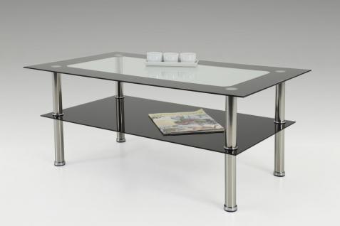 Couchtisch Beistelltisch - Dallas - 98x58 cm Klarglas / Schwarzglas