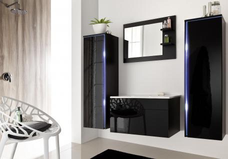 Badmöbel Set 5-Tlg Schwarz Badezimmerset -SHINE-inkl.Waschtisch inkl. LED