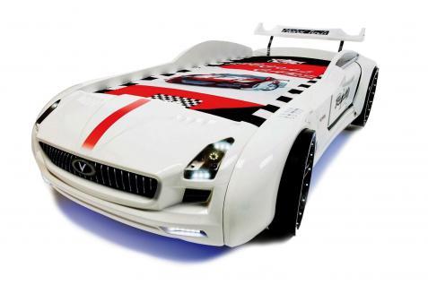 Autobett Kinderbett - Knight Rider -Standart - Weiss inkl.Beleuchtung