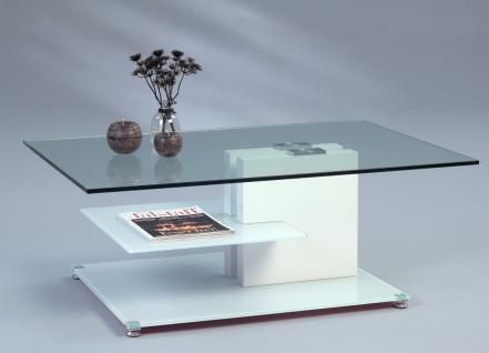 Couchtisch Beistelltisch - Tilly - 110x70 cm Glas / Weiss matt