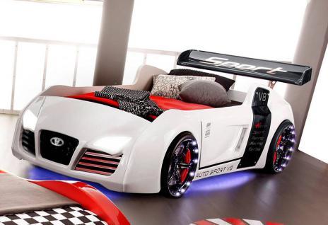 Autobett Kinderbett Bett - Turbo / Standart - Weiss inkl. Beleuchtung