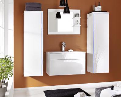 Badmöbel Set 5-Tlg Weiss Badezimmerset -SHINE-inkl.Waschtisch inkl.LED