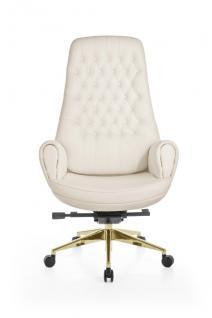 Drehstuhl Premium Bürostuhl Chefsessel WASHINGTON -Echtleder Weiss
