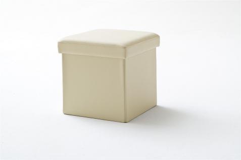 Sitzwürfel mit Deckel Hocker -SELL - Kunstleder Beige 40, 5x40, 5x40cm