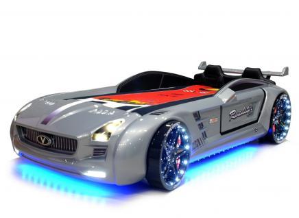 Autobett Kinderbett - Knight Rider - Silbergrau inkl.Beleuchtung
