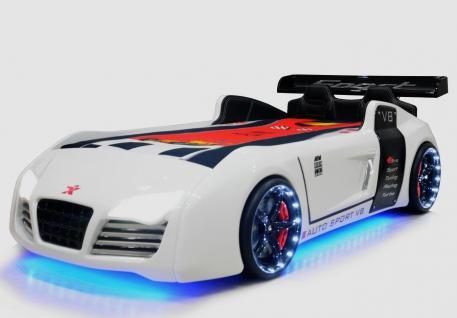 Autobett Kinderbett Bett - Turbo - Weiss inkl. Beleuchtung