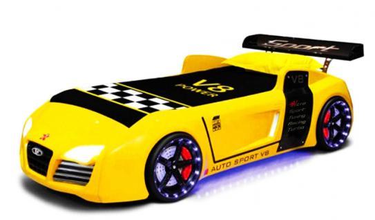 Autobett Kinderbett Bett - Turbo / Standart - Gelb inkl. Beleuchtung