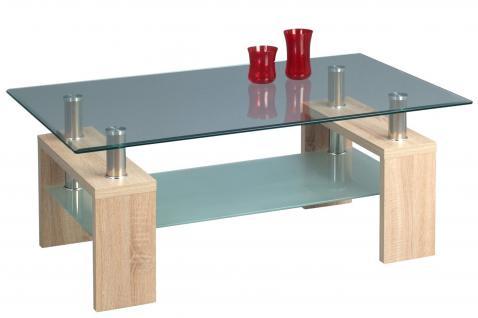 Couchtisch Beistelltisch - Xava 2 - 110x70 cm Sonoma Eiche / Glas