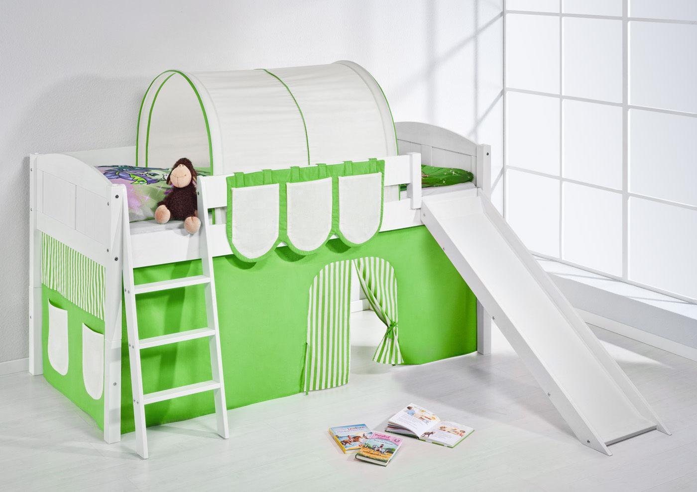spielbett mit rutsche landi r gr n beige kiefer weiss mit vorhang kaufen bei sylwia. Black Bedroom Furniture Sets. Home Design Ideas