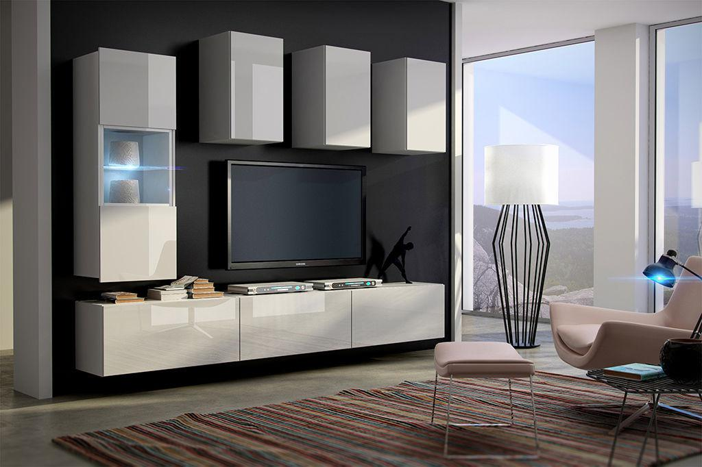 Wohnwande Wohnzimmer Konzept : Mediawand wohnwand tlg konzept weiss hgl mit led