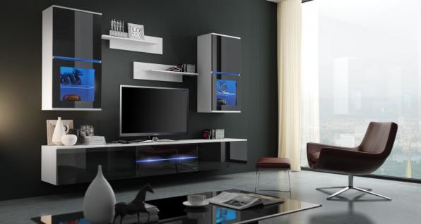 Wohnwand Schrankwand 7 tlg -SENS-Weiss/Schwarz HGL mit LED-Beleuchtung
