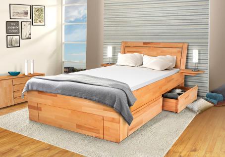 Schlafzimmerbett Kernbuche Massivholz -BELA- Natur Lackiert 140x200 cm (Set)