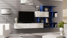 Mediawand Wohnwand 3 tlg - SKY - Weiss HGL / Blau