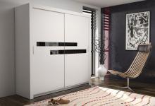 Schiebetürenschrank Kleiderschrank -Six 8- Weiss/Schwarzglas 180x200cm