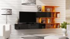 Mediawand Wohnwand 3 tlg - SKY - Schwarz HGL / Orange