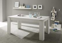 Esstisch Tisch Auszugstisch -DAV -160-200 x 90 cm Pinie Struktur Weiss